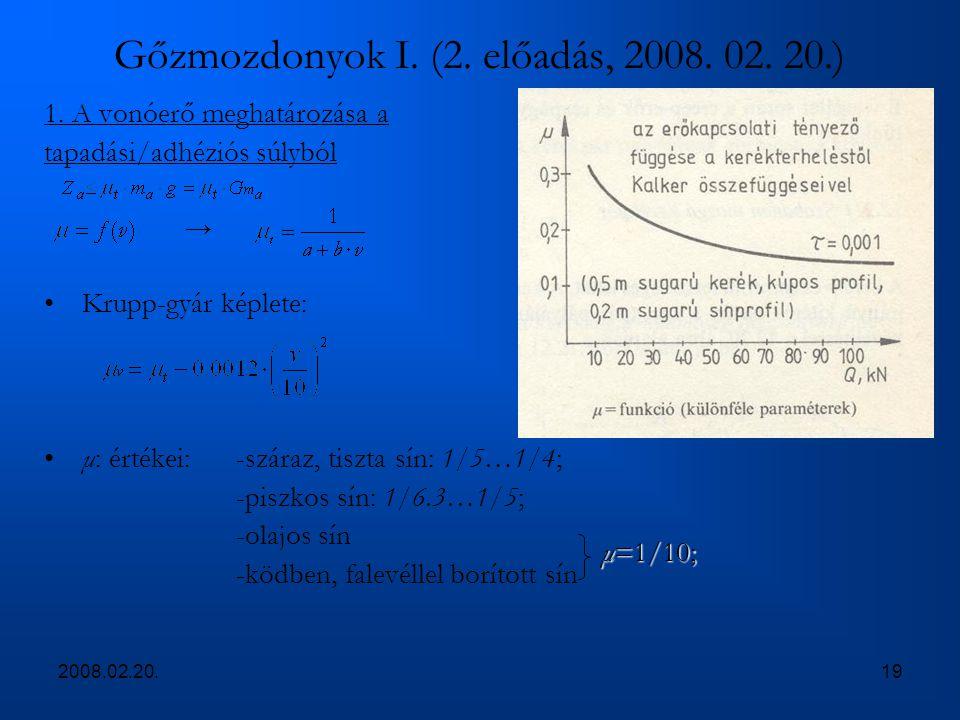 2008.02.20.19 Gőzmozdonyok I. (2. előadás, 2008. 02. 20.) 1. A vonóerő meghatározása a tapadási/adhéziós súlyból → Krupp-gyár képlete: μ: értékei:-szá