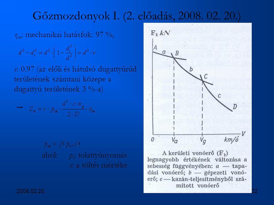2008.02.20.22 Gőzmozdonyok I. (2. előadás, 2008. 02. 20.) η m : mechanikai hatásfok: 97 %, v: 0.97 (az előli és hátulsó dugattyúrúd területének számta