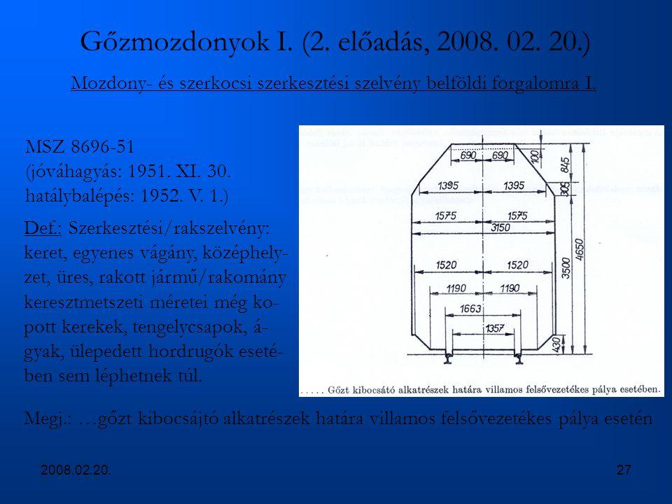 2008.02.20.27 Gőzmozdonyok I. (2. előadás, 2008. 02. 20.) Mozdony- és szerkocsi szerkesztési szelvény belföldi forgalomra I. MSZ 8696-51 (jóváhagyás: