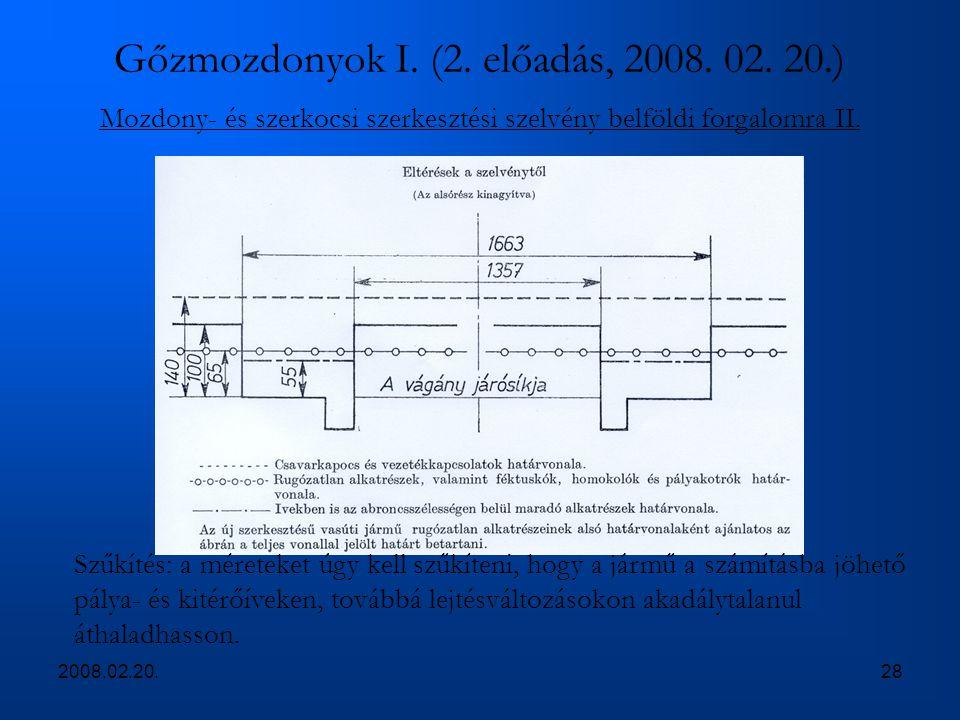 2008.02.20.28 Gőzmozdonyok I. (2. előadás, 2008. 02. 20.) Mozdony- és szerkocsi szerkesztési szelvény belföldi forgalomra II. Szűkítés: a méreteket úg