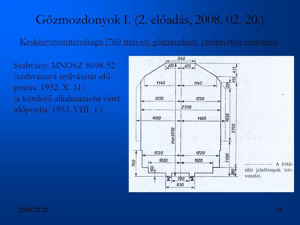 2008.02.20.29 Gőzmozdonyok I. (2. előadás, 2008. 02. 20.) Keskenynyomtávolságú (760 mm-es) gőzmozdony szerkesztési szelvénye Szabvány: MNOSZ 8698-52 (
