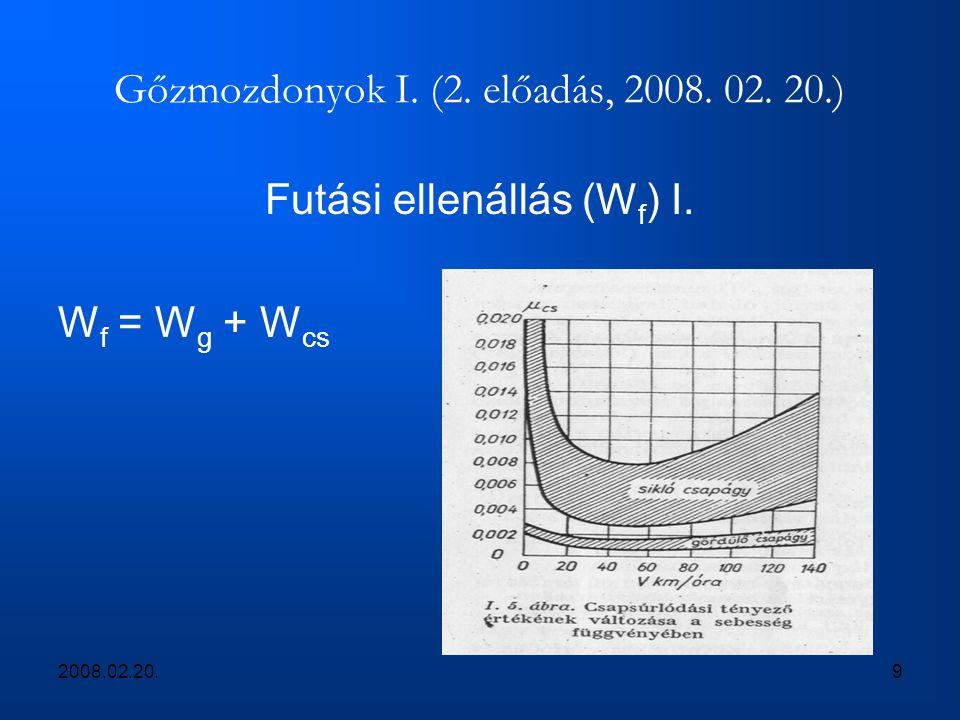 2008.02.20.9 Gőzmozdonyok I. (2. előadás, 2008. 02. 20.) Futási ellenállás (W f ) I. W f = W g + W cs