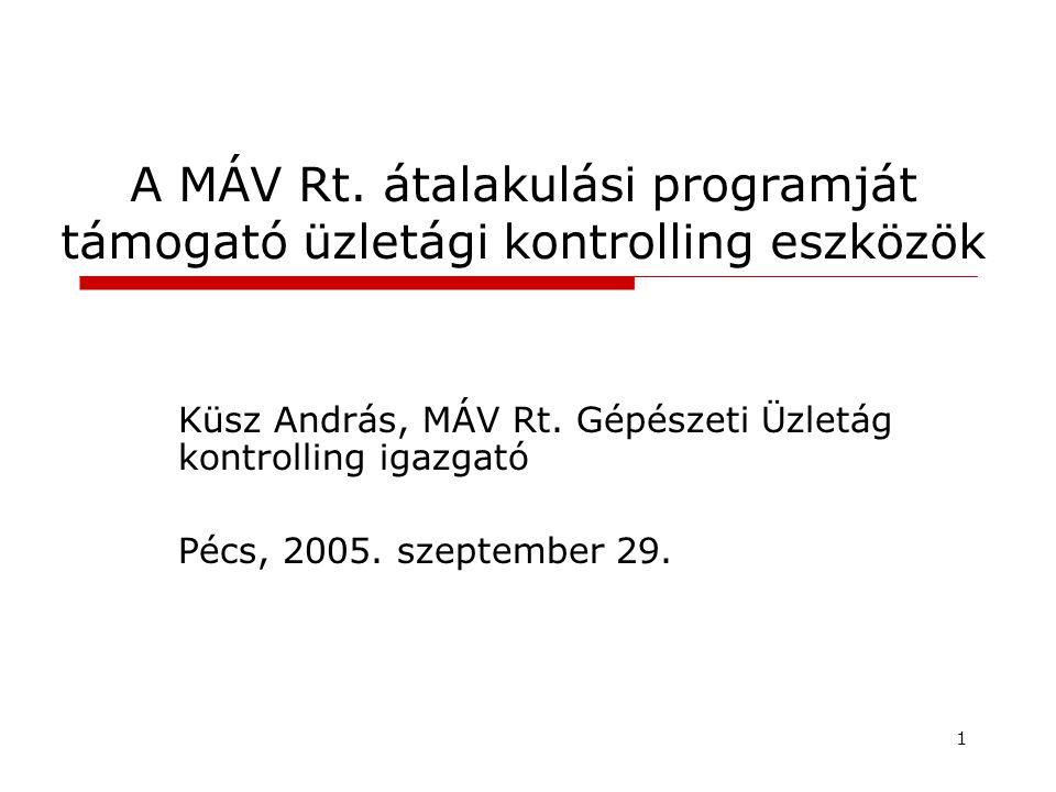 1 A MÁV Rt.átalakulási programját támogató üzletági kontrolling eszközök Küsz András, MÁV Rt.