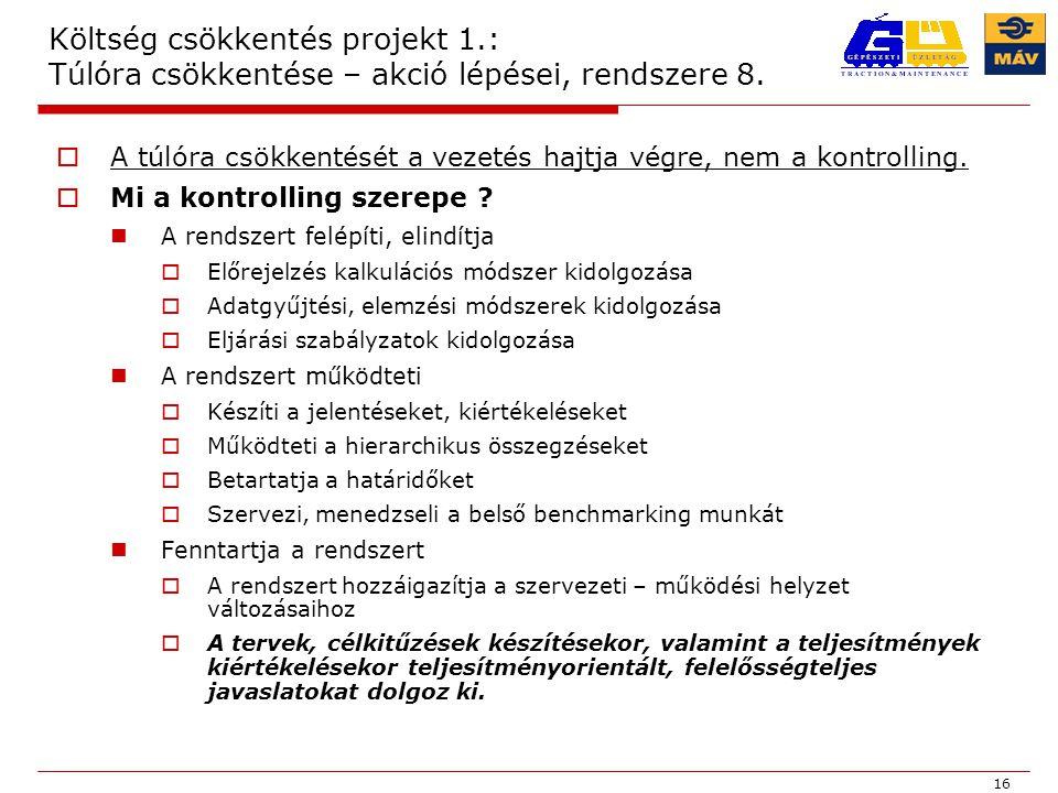 16 Költség csökkentés projekt 1.: Túlóra csökkentése – akció lépései, rendszere 8.