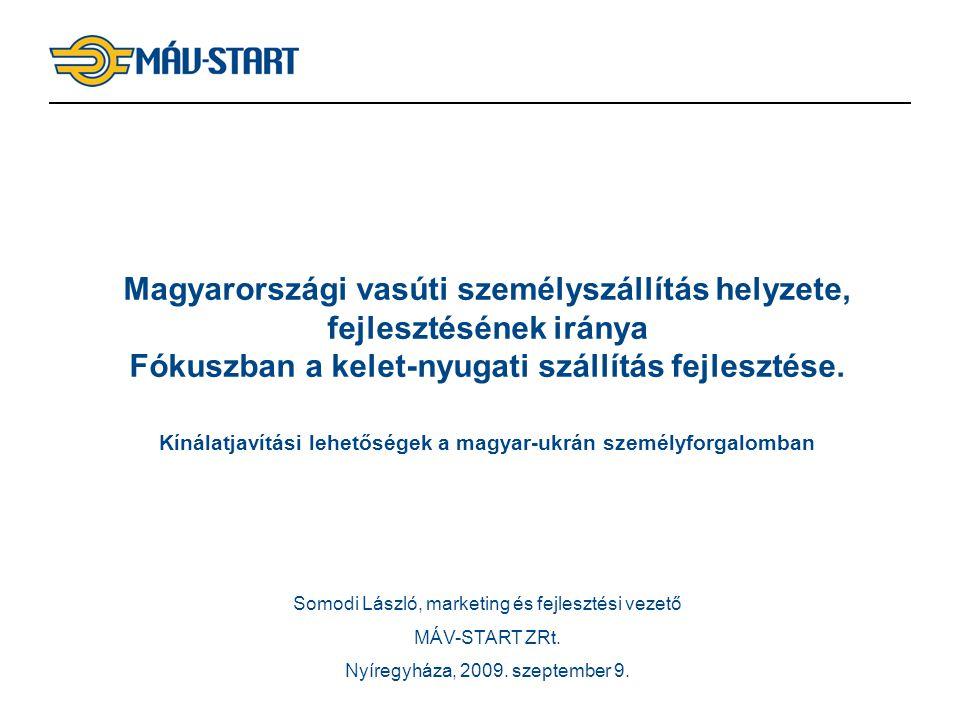 1 Magyarországi vasúti személyszállítás helyzete, fejlesztésének iránya Fókuszban a kelet-nyugati szállítás fejlesztése. Kínálatjavítási lehetőségek a