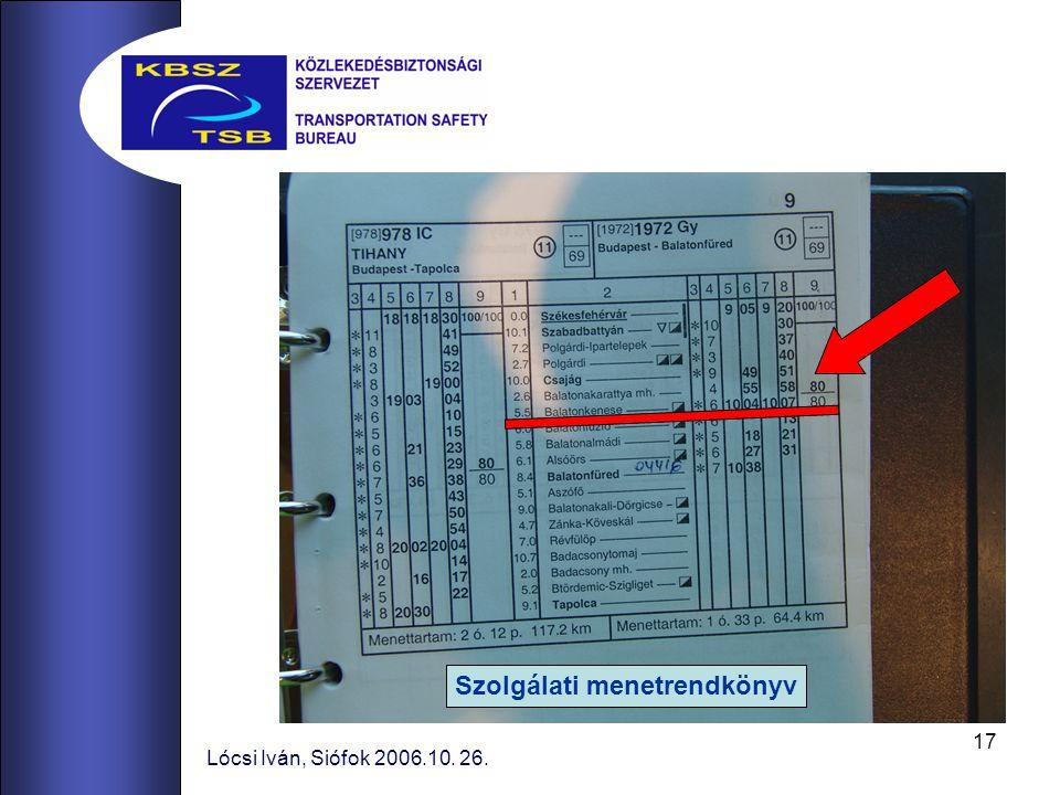 17 Lócsi Iván, Siófok 2006.10. 26. Szolgálati menetrendkönyv