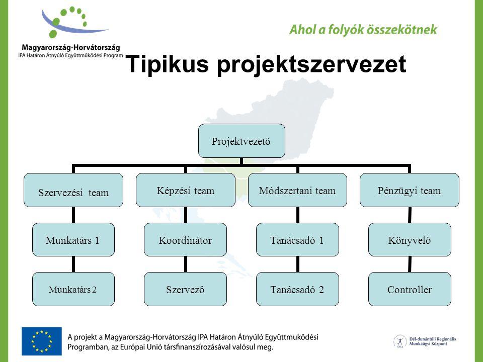 Tipikus projektszervezet Projektvezető Szervezési team Munkatárs 1 Munkatárs 2 Képzési team Koordinátor Szervező Módszertani team Tanácsadó 1 Tanácsad