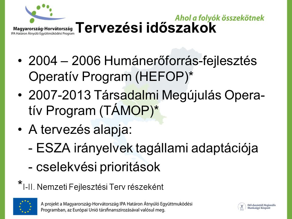 Tervezési időszakok 2004 – 2006 Humánerőforrás-fejlesztés Operatív Program (HEFOP)* 2007-2013 Társadalmi Megújulás Opera- tív Program (TÁMOP)* A terve