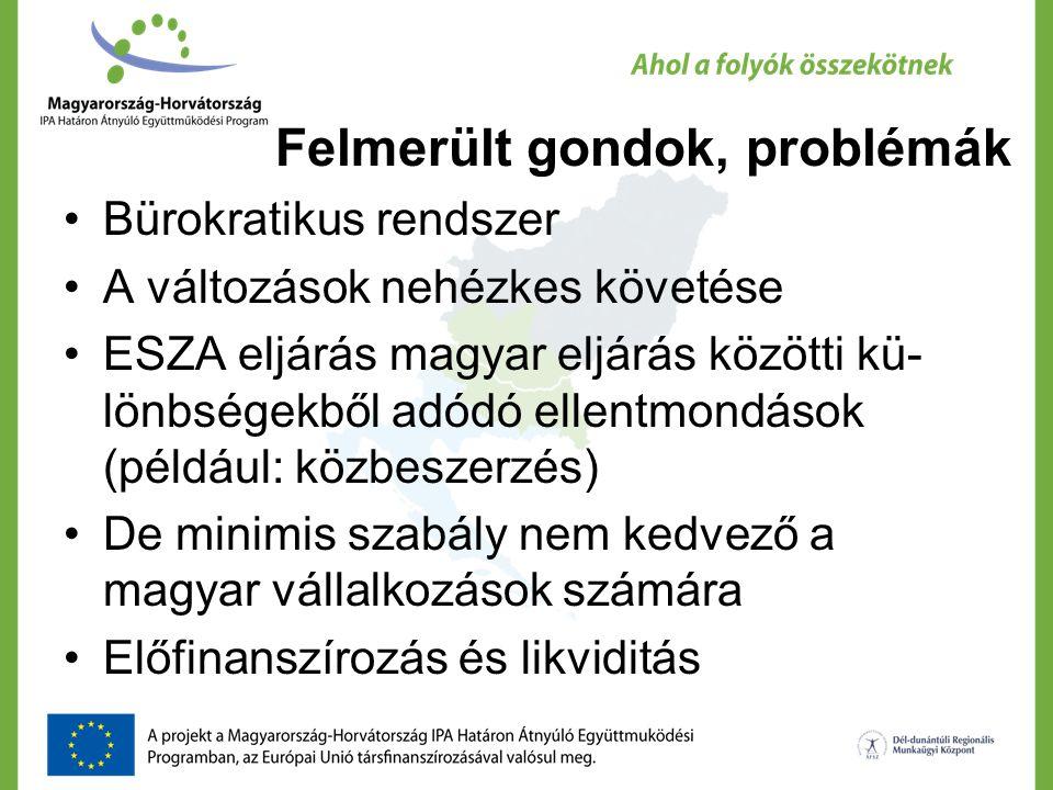 Felmerült gondok, problémák Bürokratikus rendszer A változások nehézkes követése ESZA eljárás magyar eljárás közötti kü- lönbségekből adódó ellentmond