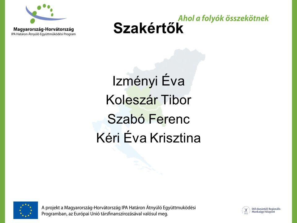 Szakértők Izményi Éva Koleszár Tibor Szabó Ferenc Kéri Éva Krisztina
