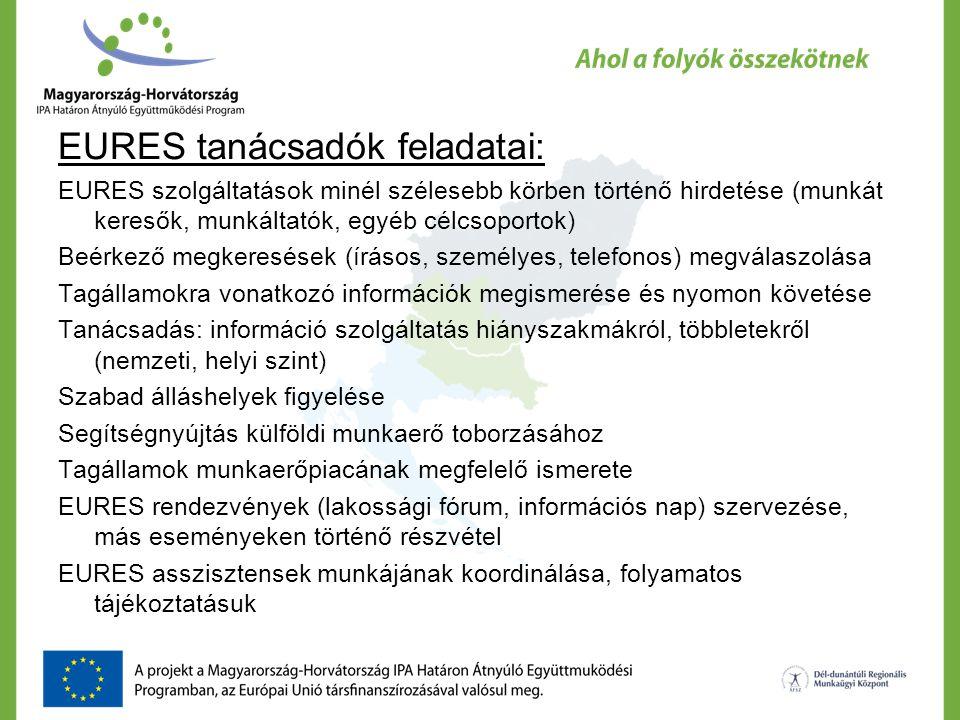 EURES tanácsadók feladatai: EURES szolgáltatások minél szélesebb körben történő hirdetése (munkát keresők, munkáltatók, egyéb célcsoportok) Beérkező m