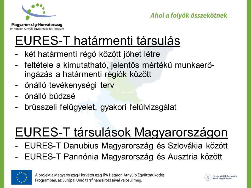 EURES-T határmenti társulás -két határmenti régó között jöhet létre -feltétele a kimutatható, jelentős mértékű munkaerő- ingázás a határmenti régiók k
