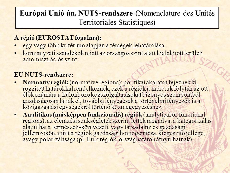 Európai Unió ún. NUTS-rendszere (Nomenclature des Unités Territoriales Statistiques) A régió (EUROSTAT fogalma): egy vagy több kritérium alapján a tér