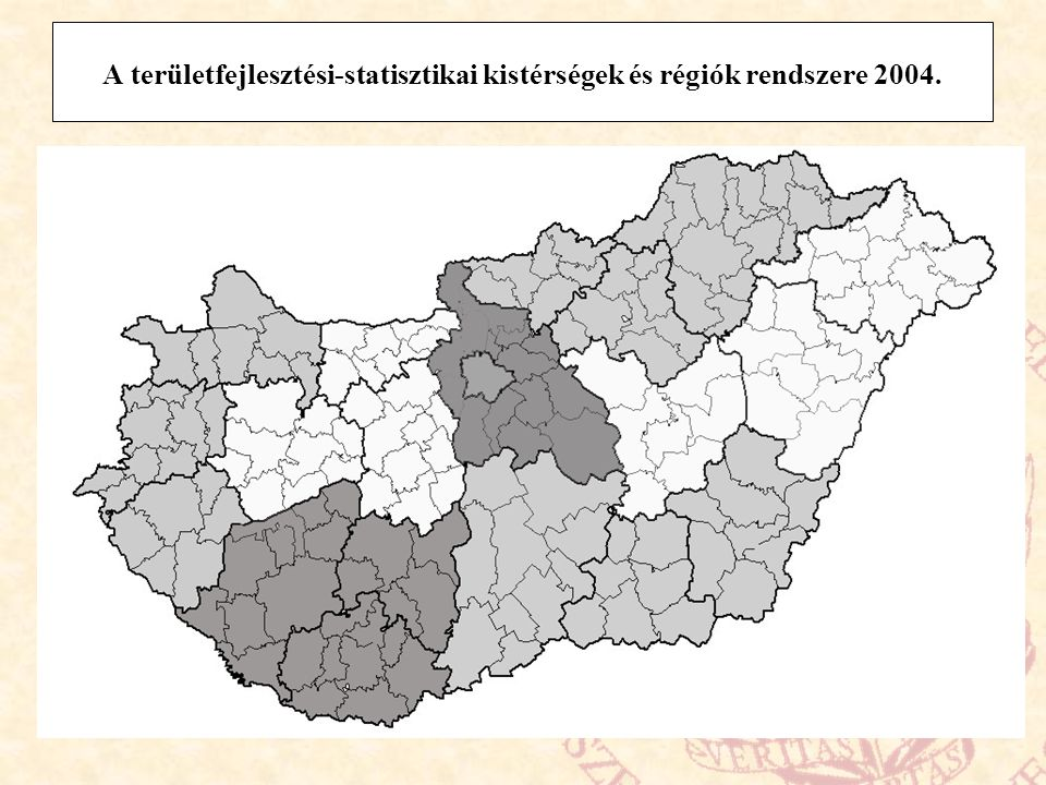 A területfejlesztési-statisztikai kistérségek és régiók rendszere 2004.