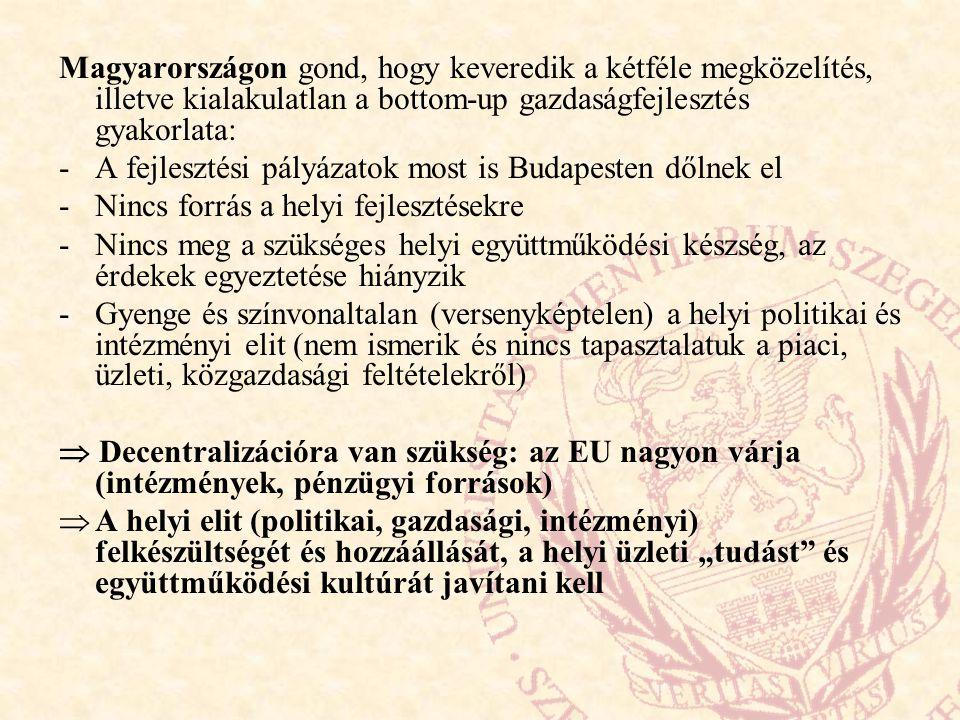 Magyarországon gond, hogy keveredik a kétféle megközelítés, illetve kialakulatlan a bottom-up gazdaságfejlesztés gyakorlata: -A fejlesztési pályázatok