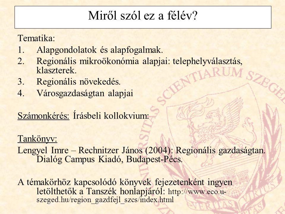 Magyarországon: NUTS 2: régió (7 db) NUTS 3: megyék (19 + főváros) NUTS 4: statisztikai kistérségek (1997-ben 150, 2003-ban 168 ilyen kistérséget alakítottak ki) (normatív): egy megyén belül lévő szomszédos településekből áll, általában egy (vagy több) város és vonzáskörzete alkotja + fejlesztési kistérségek (funkcionális): önkormányzati területfejlesztési társulások, amelyek átnyúlhatnak a megyehatárokon is (kb.