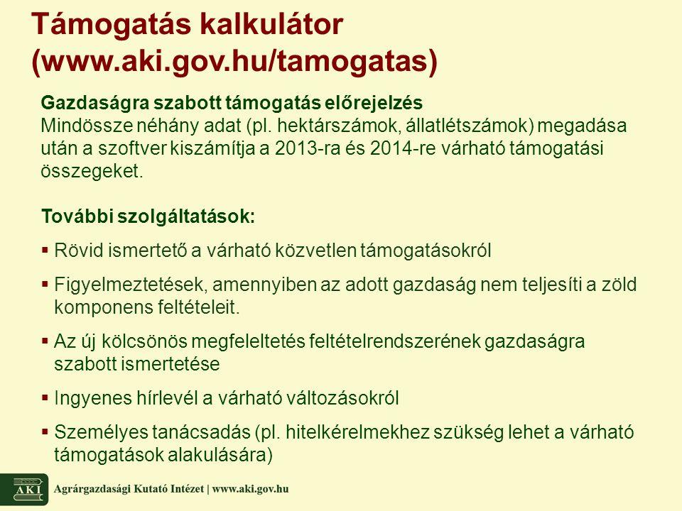 Támogatás kalkulátor (www.aki.gov.hu/tamogatas) Gazdaságra szabott támogatás előrejelzés Mindössze néhány adat (pl. hektárszámok, állatlétszámok) mega