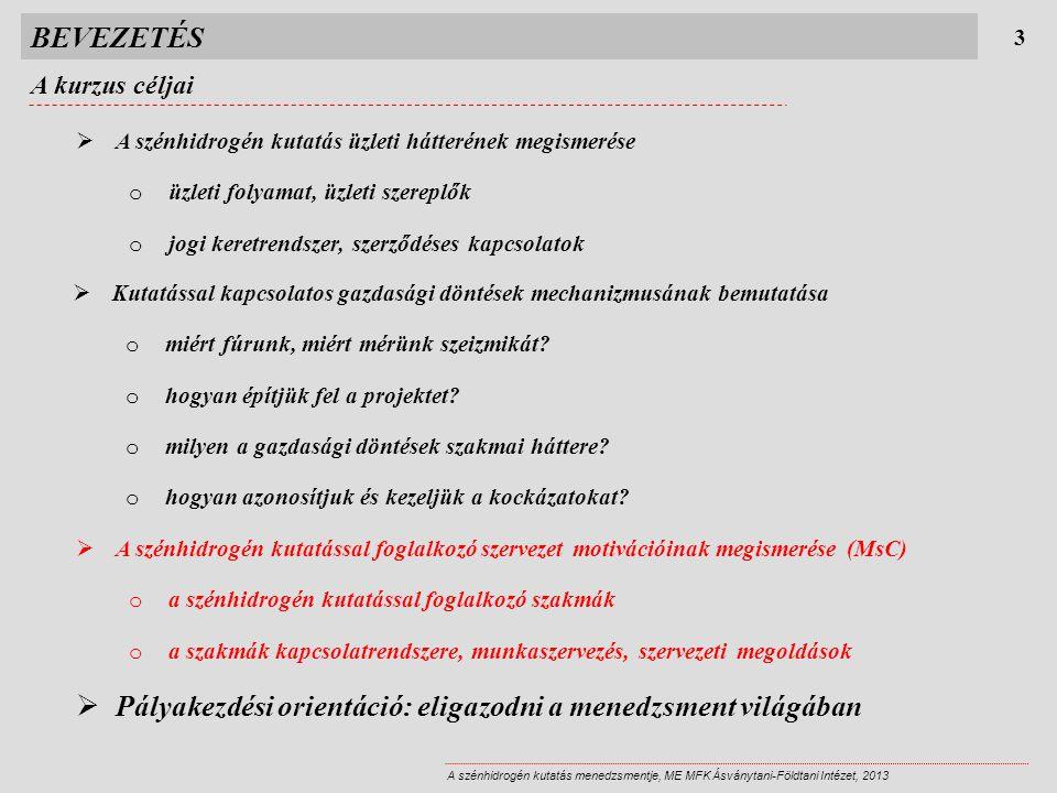 BEVEZETÉS A kurzus tematikája 4 A szénhidrogén kutatás menedzsmentje, ME MFK Ásványtani-Földtani Intézet, 2013 2013.