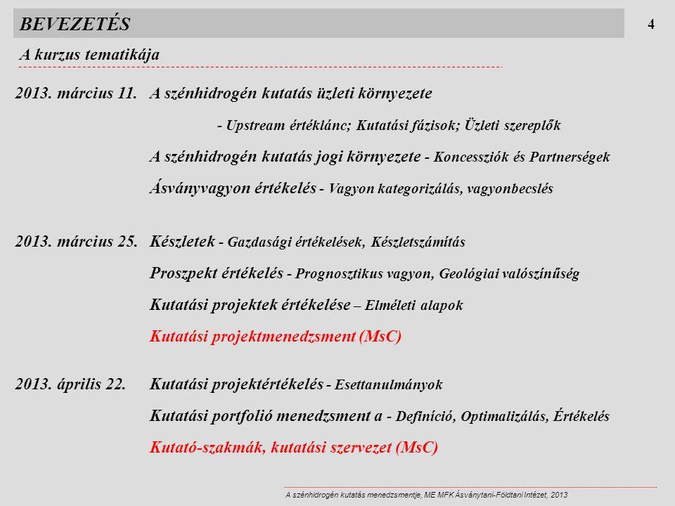 BEVEZETÉS Gyakorlati tudnivalók 5 A szénhidrogén kutatás menedzsmentje, ME MFK Ásványtani-Földtani Intézet, 2013 Segédanyagok  kb.