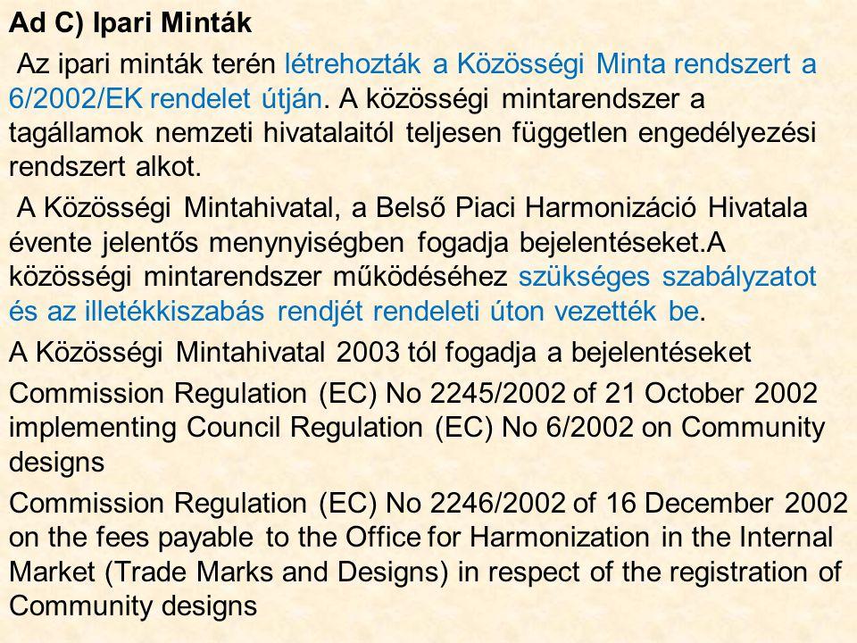 Ad C) Ipari Minták Az ipari minták terén létrehozták a Közösségi Minta rendszert a 6/2002/EK rendelet útján.