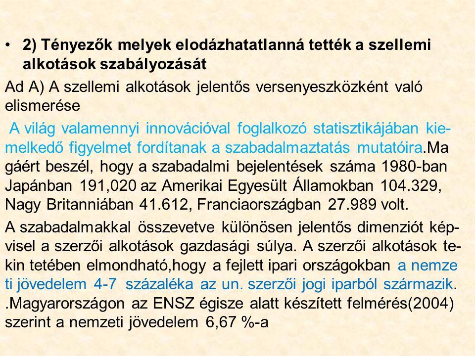 2) Tényezők melyek elodázhatatlanná tették a szellemi alkotások szabályozását Ad A) A szellemi alkotások jelentős versenyeszközként való elismerése A világ valamennyi innovációval foglalkozó statisztikájában kie- melkedő figyelmet fordítanak a szabadalmaztatás mutatóira.Ma gáért beszél, hogy a szabadalmi bejelentések száma 1980-ban Japánban 191,020 az Amerikai Egyesült Államokban 104.329, Nagy Britanniában 41.612, Franciaországban 27.989 volt.