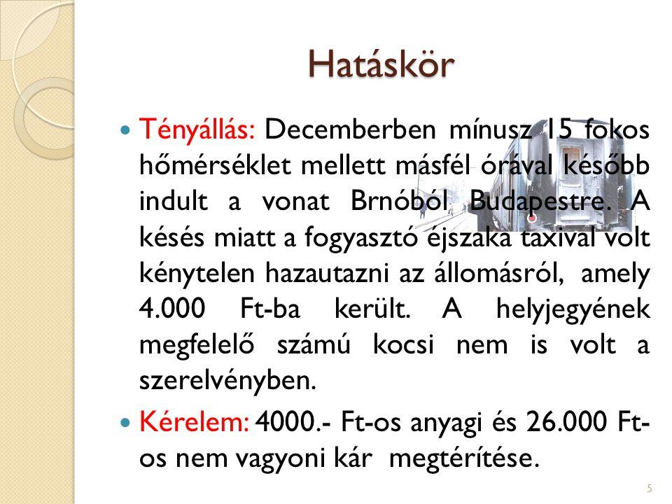 Hatáskör Tényállás: Decemberben mínusz 15 fokos hőmérséklet mellett másfél órával később indult a vonat Brnóból Budapestre. A késés miatt a fogyasztó