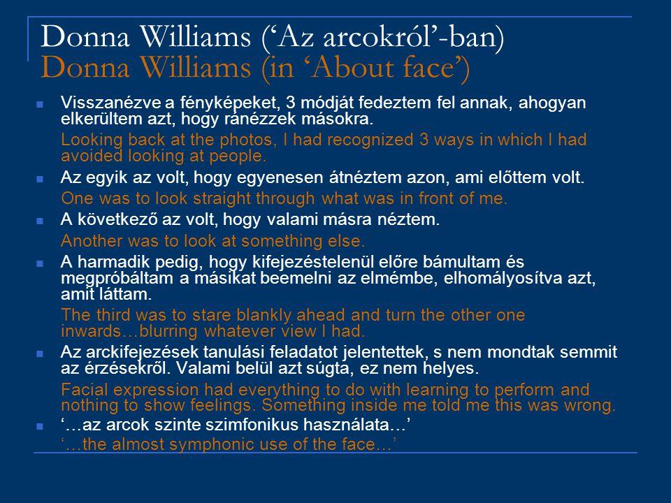 Donna Williams ('Az arcokról'-ban) Donna Williams (in 'About face') Visszanézve a fényképeket, 3 módját fedeztem fel annak, ahogyan elkerültem azt, ho