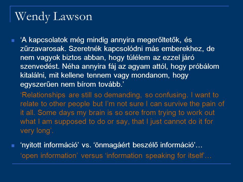 Wendy Lawson 'A kapcsolatok még mindig annyira megerőltetők, és zűrzavarosak. Szeretnék kapcsolódni más emberekhez, de nem vagyok biztos abban, hogy t