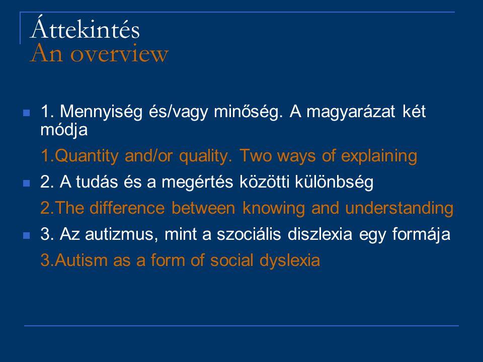 """""""Magasan funkcionáló autizmus / """"Alacsonyan funkcionáló autizmus 'HFA' / 'LFA' Az autizmus, mint 'relatív' fogalom Autism as a 'relative' concept : Az 'absztrakt' jelentésre (különösen a szociális jelentés) vonatkozó kapacitás kevésbé fejlett, mint amit az általános fejlődési szint alapján várnánk… The capacity to 'abstract' meaning (especially social meaning) is less developed than the general developmental level would suggest…"""