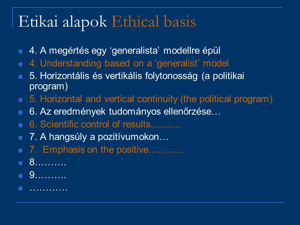 Etikai alapok Ethical basis 4. A megértés egy 'generalista' modellre épül 4. Understanding based on a 'generalist' model 5. Horizontális és vertikális