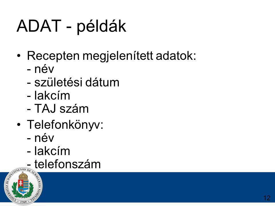 12 ADAT - példák Recepten megjelenített adatok: - név - születési dátum - lakcím - TAJ szám Telefonkönyv: - név - lakcím - telefonszám