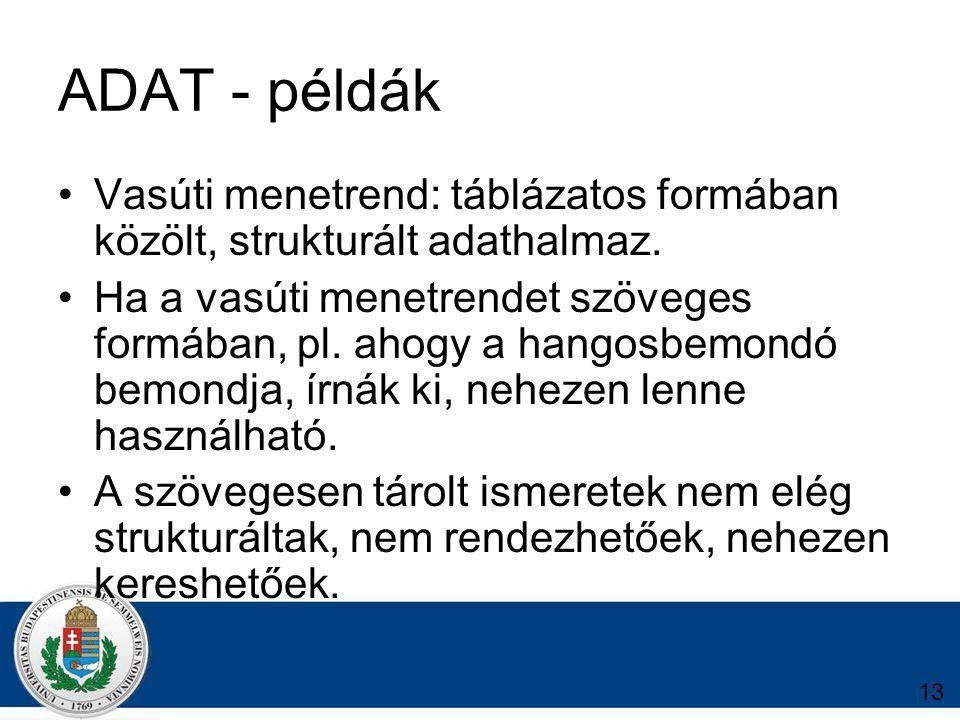 13 ADAT - példák Vasúti menetrend: táblázatos formában közölt, strukturált adathalmaz.