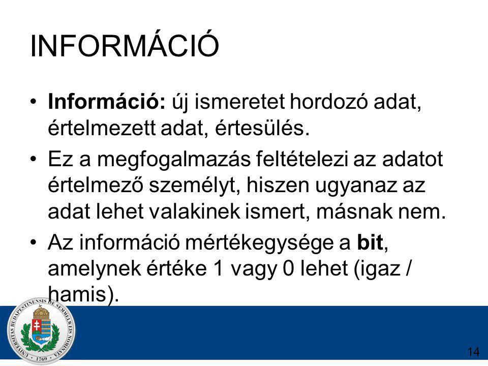 14 INFORMÁCIÓ Információ: új ismeretet hordozó adat, értelmezett adat, értesülés.