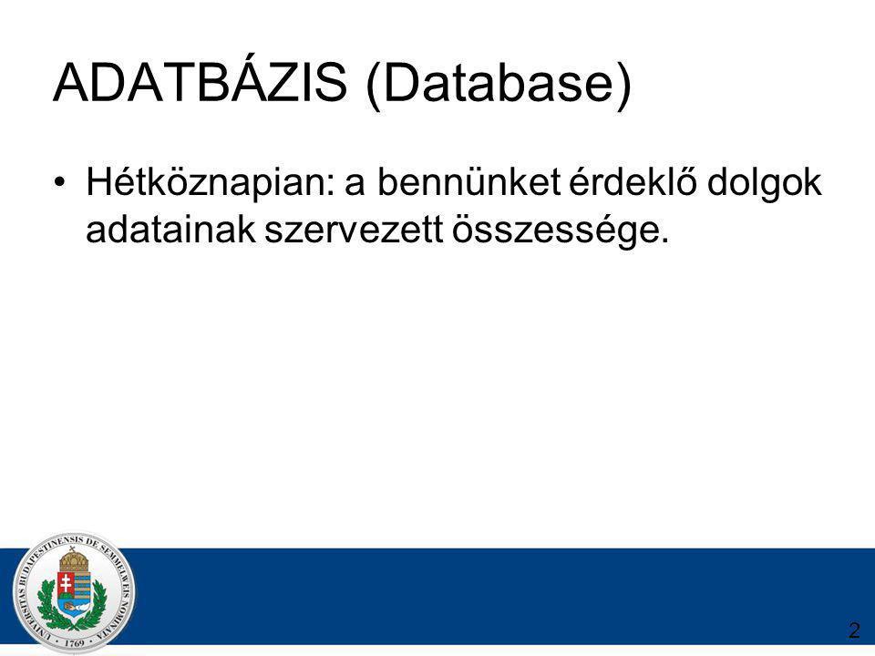 2 ADATBÁZIS (Database) Hétköznapian: a bennünket érdeklő dolgok adatainak szervezett összessége.