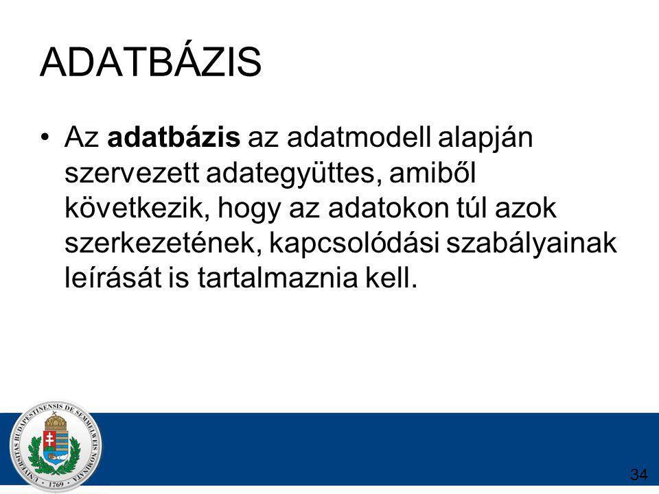 34 ADATBÁZIS Az adatbázis az adatmodell alapján szervezett adategyüttes, amiből következik, hogy az adatokon túl azok szerkezetének, kapcsolódási szabályainak leírását is tartalmaznia kell.