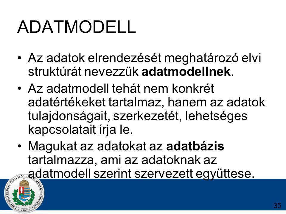 35 ADATMODELL Az adatok elrendezését meghatározó elvi struktúrát nevezzük adatmodellnek.