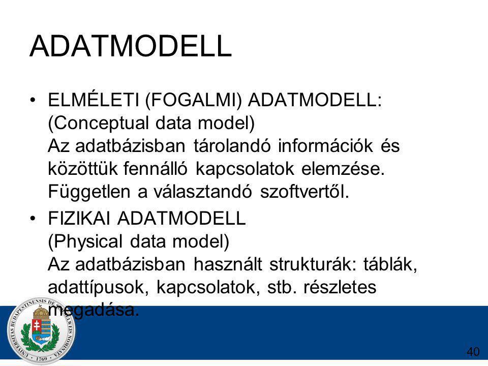 ADATMODELL ELMÉLETI (FOGALMI) ADATMODELL: (Conceptual data model) Az adatbázisban tárolandó információk és közöttük fennálló kapcsolatok elemzése.