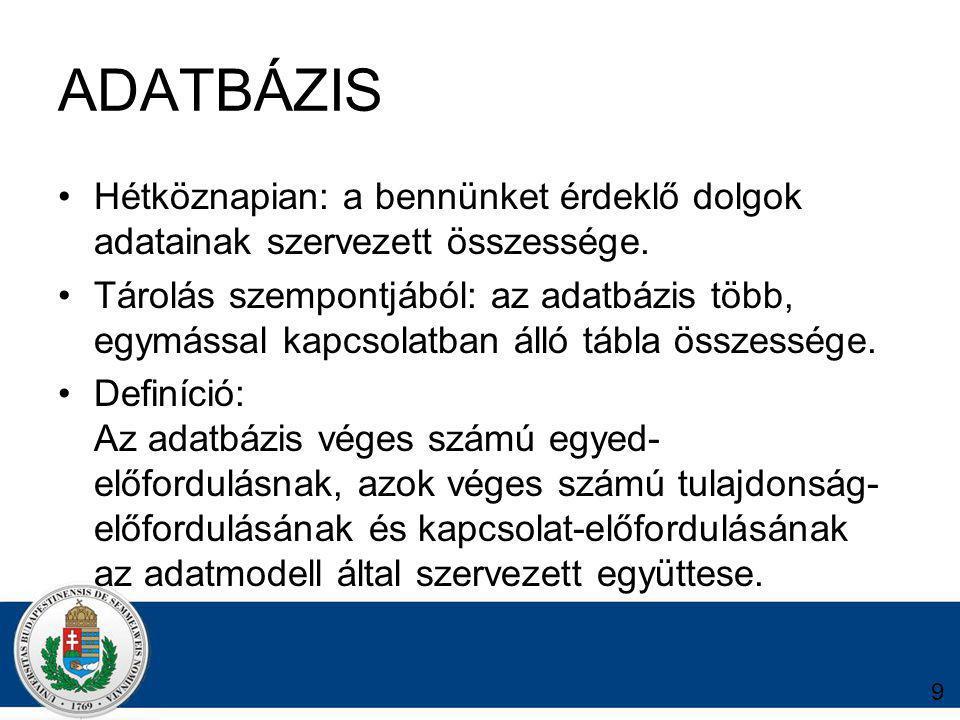 30 TÁBLÁZAT ADATBÁZIS Táblázat kezelés hátrányai: -ugyanazt az adathalmazt nem lehet egyidejűleg több gépről módosítani -Nem elég biztonságos az adattárolás: egy véletlen átrendezéssel tönkre tehetőek az adatok.