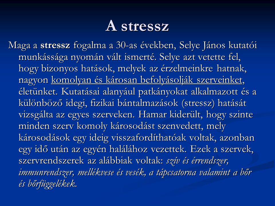 A stressz Maga a stressz fogalma a 30-as években, Selye János kutatói munkássága nyomán vált ismerté. Selye azt vetette fel, hogy bizonyos hatások, me