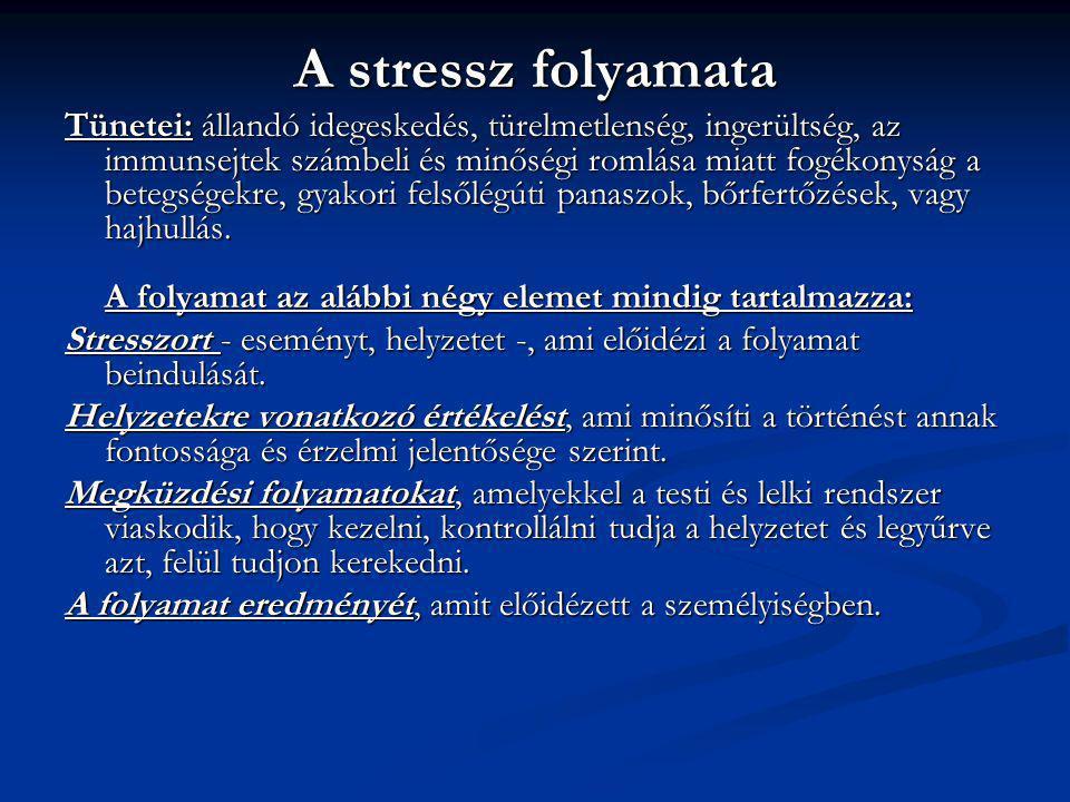 A stressz folyamata Tünetei: állandó idegeskedés, türelmetlenség, ingerültség, az immunsejtek számbeli és minőségi romlása miatt fogékonyság a betegsé