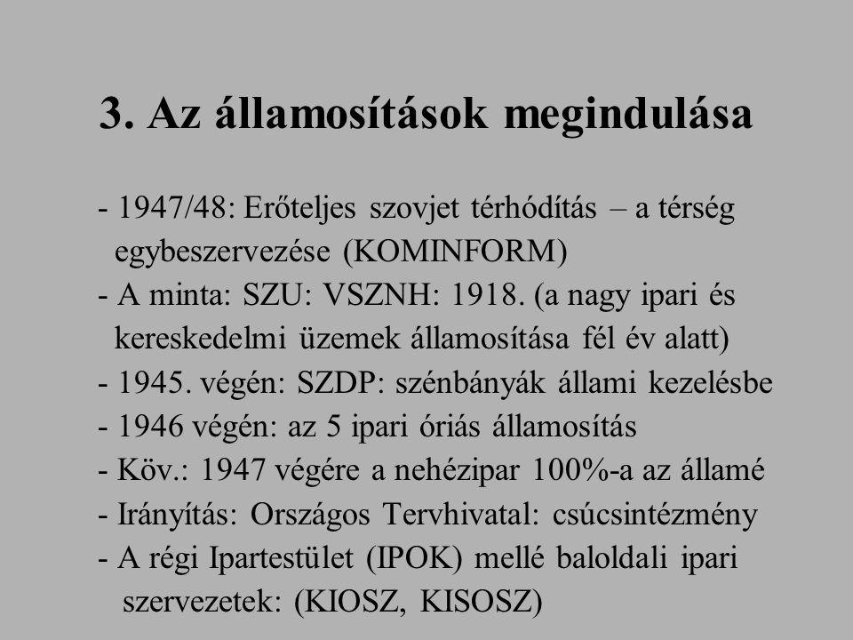 3. Az államosítások megindulása - 1947/48: Erőteljes szovjet térhódítás – a térség egybeszervezése (KOMINFORM) - A minta: SZU: VSZNH: 1918. (a nagy ip