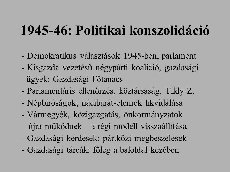 1945-46: Politikai konszolidáció - Demokratikus választások 1945-ben, parlament - Kisgazda vezetésű négypárti koalíció, gazdasági ügyek: Gazdasági Főt