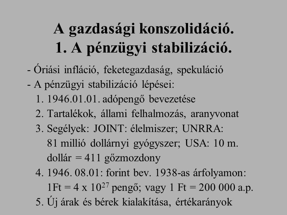 A gazdasági konszolidáció. 1. A pénzügyi stabilizáció. - Óriási infláció, feketegazdaság, spekuláció - A pénzügyi stabilizáció lépései: 1. 1946.01.01.