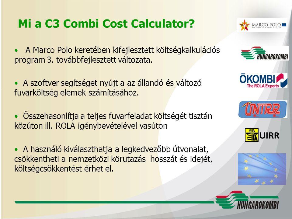 UIRR A Marco Polo keretében kifejlesztett költségkalkulációs program 3.