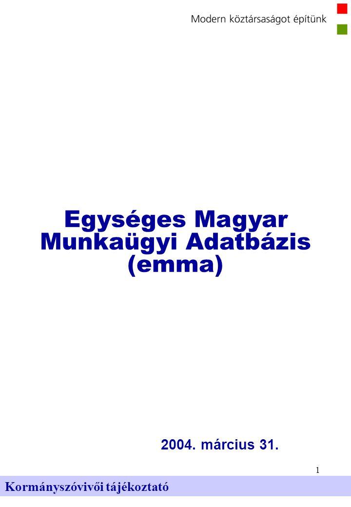 1 Kormányszóvivői tájékoztató 2004. március 31. Egységes Magyar Munkaügyi Adatbázis (emma)