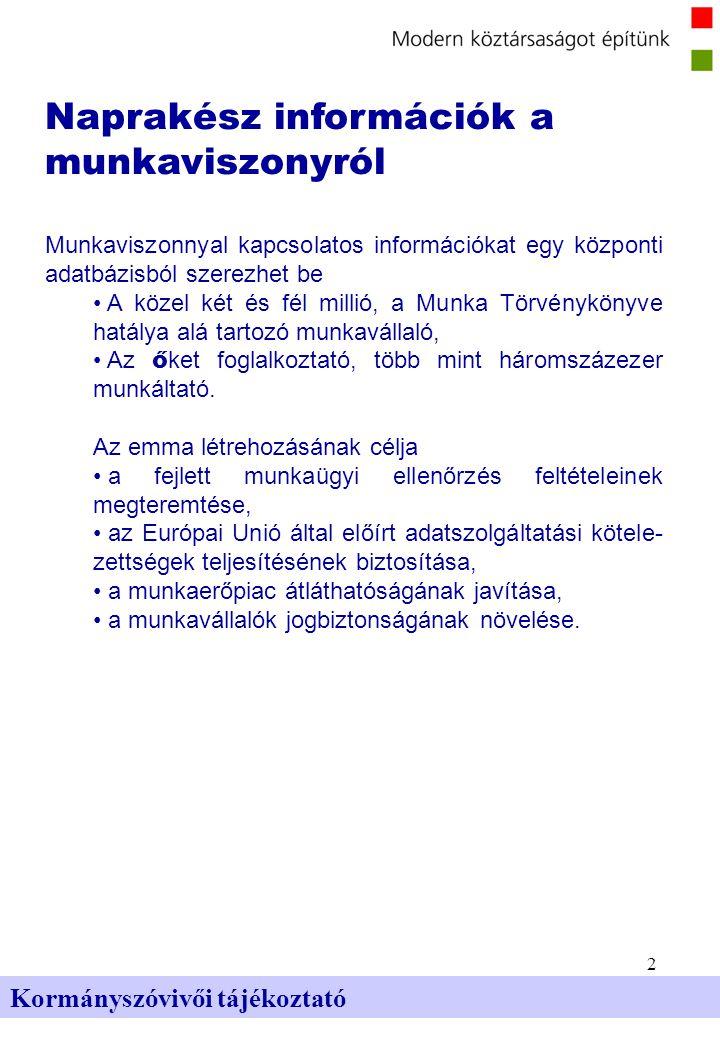 2 Kormányszóvivői tájékoztató Naprakész információk a munkaviszonyról Munkaviszonnyal kapcsolatos információkat egy központi adatbázisból szerezhet be