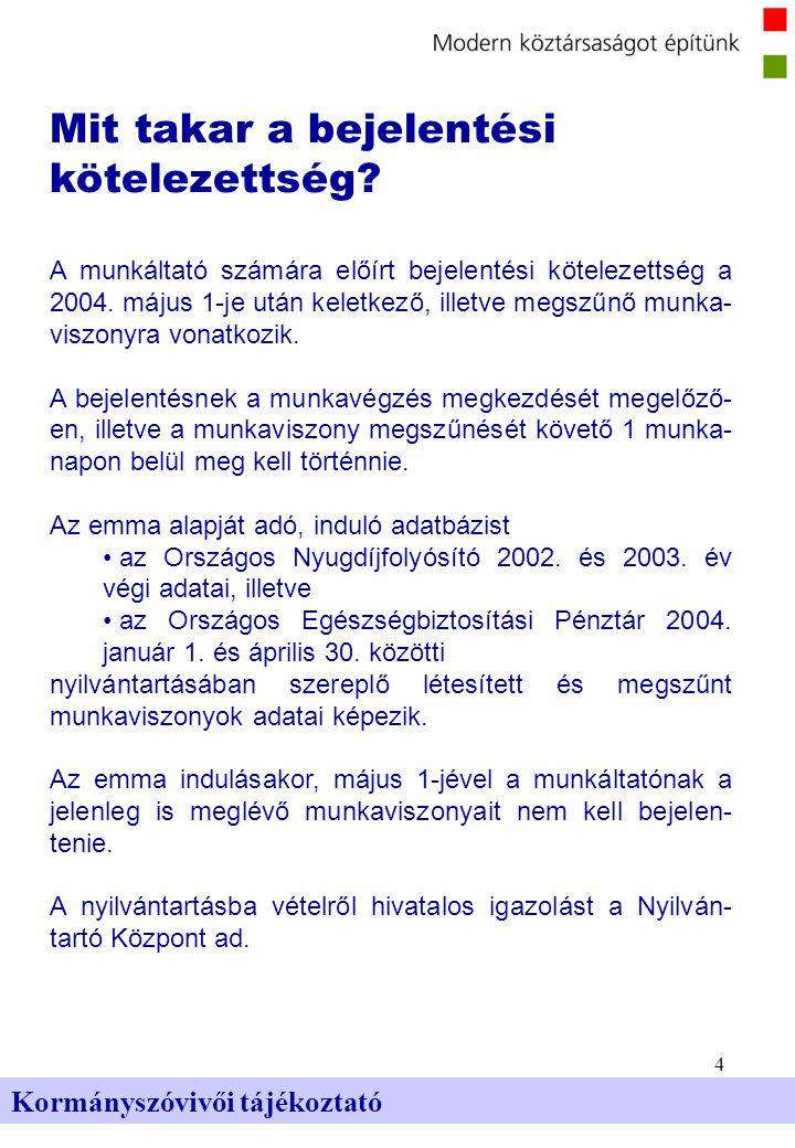 4 Kormányszóvivői tájékoztató Mit takar a bejelentési kötelezettség? A munkáltató számára előírt bejelentési kötelezettség a 2004. május 1-je után kel