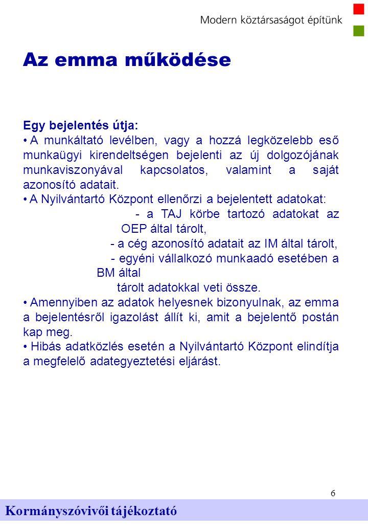 6 Kormányszóvivői tájékoztató Az emma működése Egy bejelentés útja: A munkáltató levélben, vagy a hozzá legközelebb eső munkaügyi kirendeltségen bejel