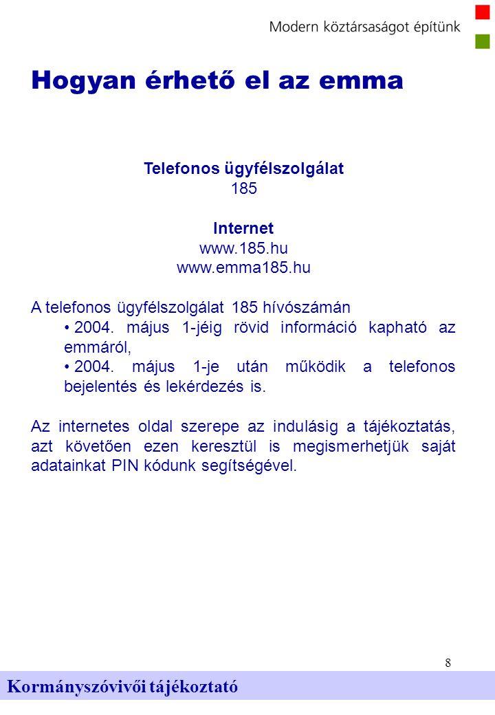 8 Kormányszóvivői tájékoztató Hogyan érhető el az emma Telefonos ügyfélszolgálat 185 Internet www.185.hu www.emma185.hu A telefonos ügyfélszolgálat 185 hívószámán 2004.