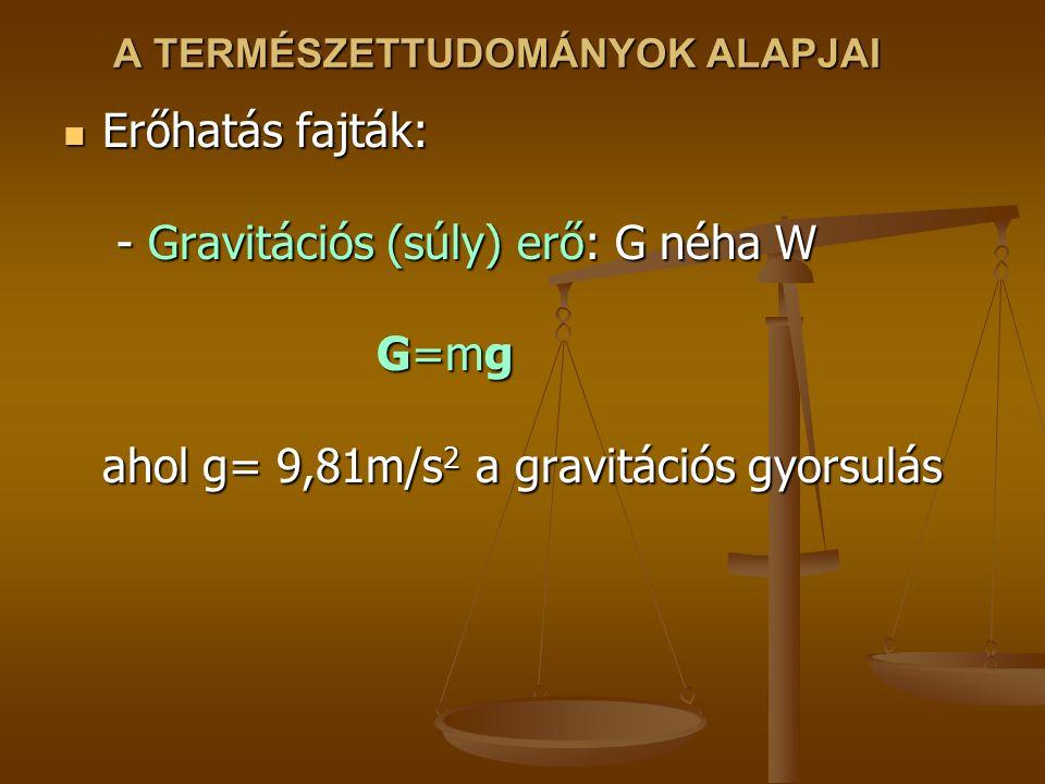 A TERMÉSZETTUDOMÁNYOK ALAPJAI Erőhatás fajták: - Gravitációs (súly) erő: G néha W G=mg ahol g= 9,81m/s 2 a gravitációs gyorsulás Erőhatás fajták: - Gravitációs (súly) erő: G néha W G=mg ahol g= 9,81m/s 2 a gravitációs gyorsulás